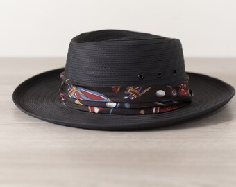 928582dff41 Black Boater Hat - Men s Biltmore Small Hat - Made in Canada - Packable  Street Style Streetwear Formal Hat