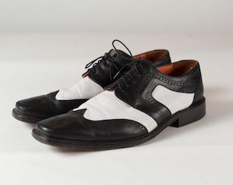 4ae68d7e52f3f8 Schwarz und weiß-Schuhe - Schwarz und weiß Leder Größe 11 Männer lässig  elegant Preppy Sommer Schnürschuhe formale Tanz