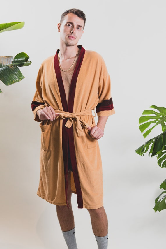 Men's Vintage Robe - Medium Size Omega Tan and Red