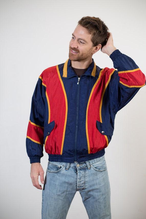 Vintage Colour Blocked Windbreaker - Medium Red and Blue Men's / Women's Nylon Sports Jacket