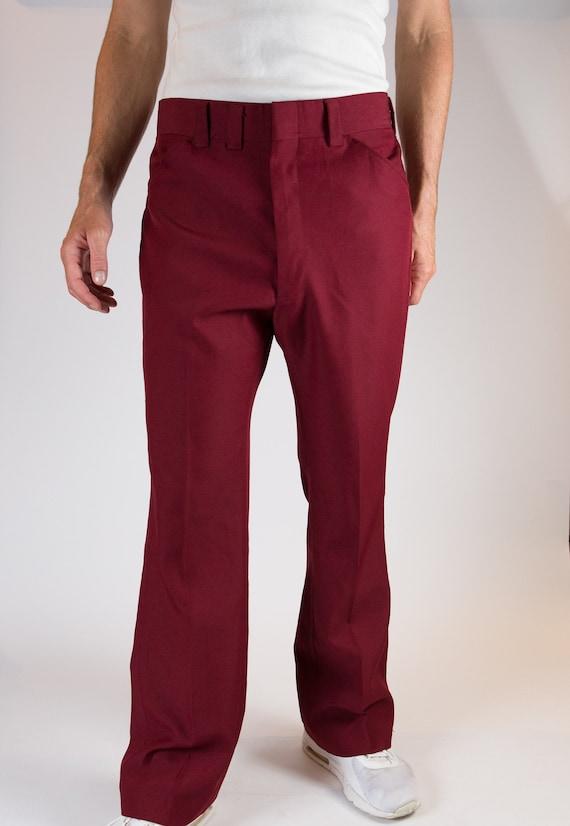 Vintage Red Men's Pants - 1970's Maroon / Merlot W