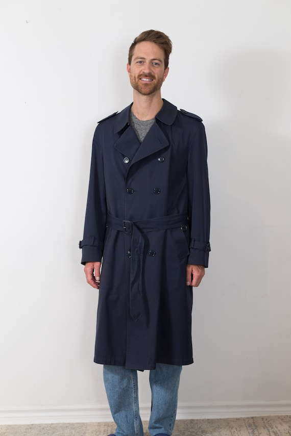 Vintage Blue Overcoat - Men's Mod Lightweight London Fog Long Medium Size Jacket with Removable Lining