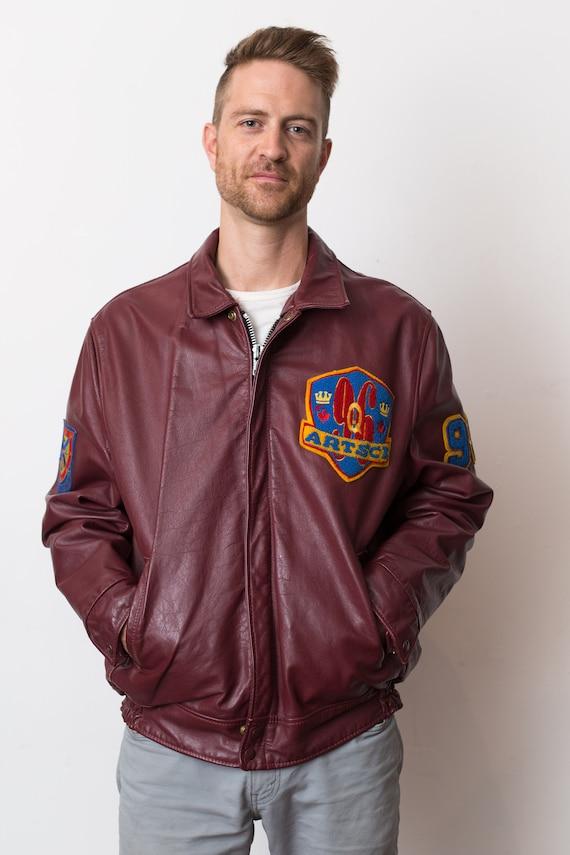 Vintage Varsity Jacket - Men's Large Queens University Burgundy Red Leather 1990's College Fall Coat