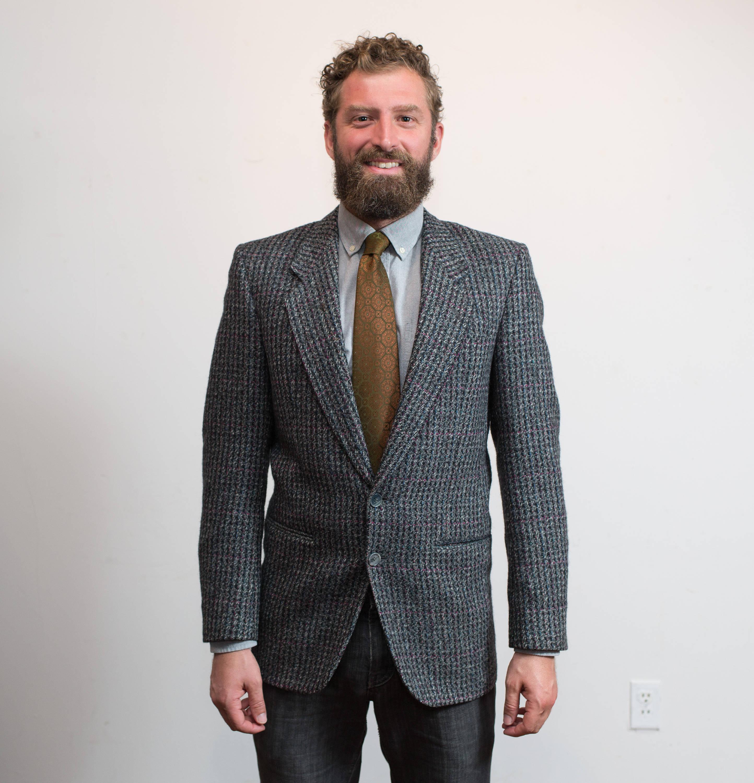 671fb1252c57 Vintage Tweed / 1970's Mens Charcoal Grey Wool Holt Renfrew Sports Coat /  Pure Virgin Wool Jacket / Union Made by Alexander Julian / Size 38