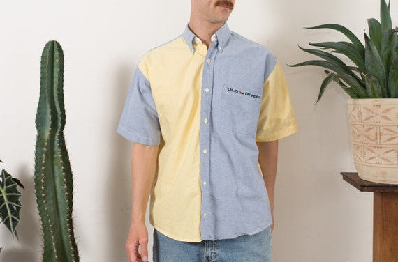 Vintage Men's Shirt - Split 2-tone Color Blocked Pale Yellow and Blue Medium Size Button up Shirt - Streetstyle Shirt - Fresh Prince Shirt