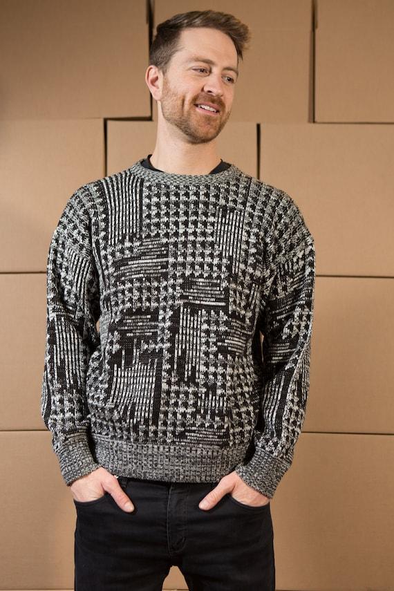 Vintage Wool Sweater - Cricketeer Medium Grey, Black and White Pullover - Made in Korea - Wool Blend Geometric Pattern - Preppy Sweater