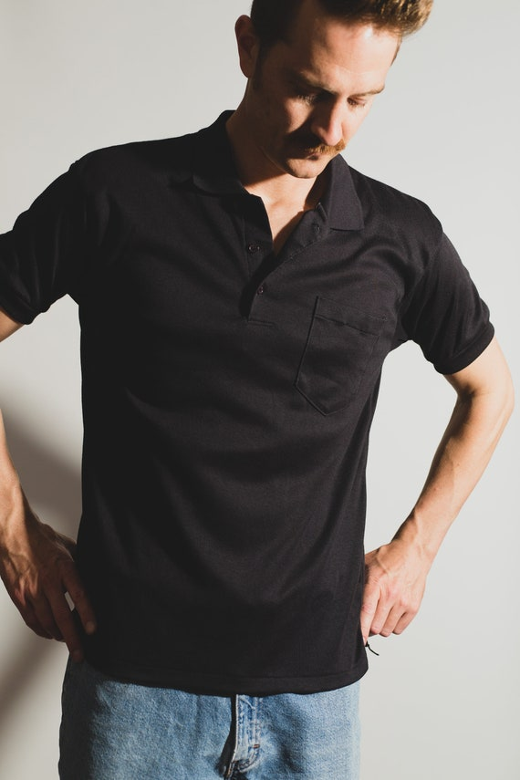 Men's Polo Shirt - Vintage Medium Size Black Tee with Breast Pockets - Retro Short Sleeve Summer Golf Shirt