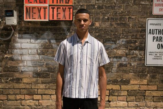 Men's Striped Shirt - Kenzo Button Down Oxford Dress Shirt - Large Size Short Sleeved Office Summer Shirt