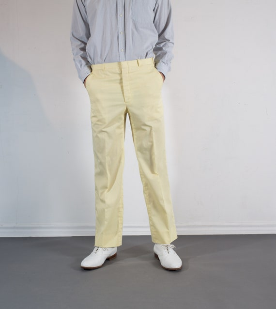 Vintage Mens Pale Yellow Trousers - 32W Dress Pants / Slacks