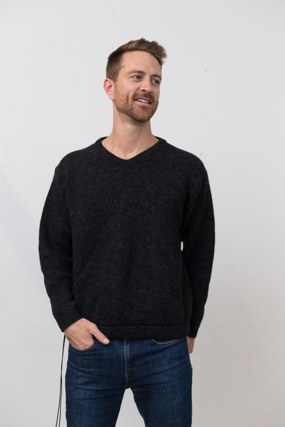 Vintage Woolrich Sweater - Black Men's V-neck Shetland Wool Pullover with Drawstring - Retro Jumper with Front Pockets