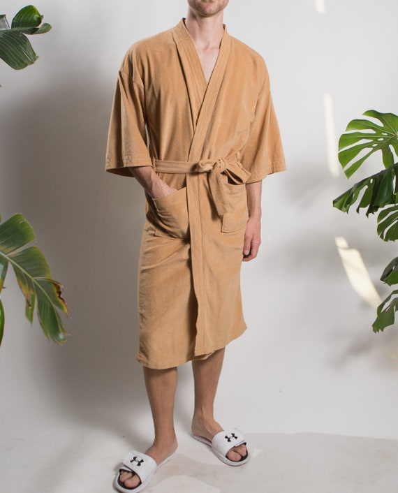 Men's Vintage Robe - Medium Size Tan Lounge Pyjama