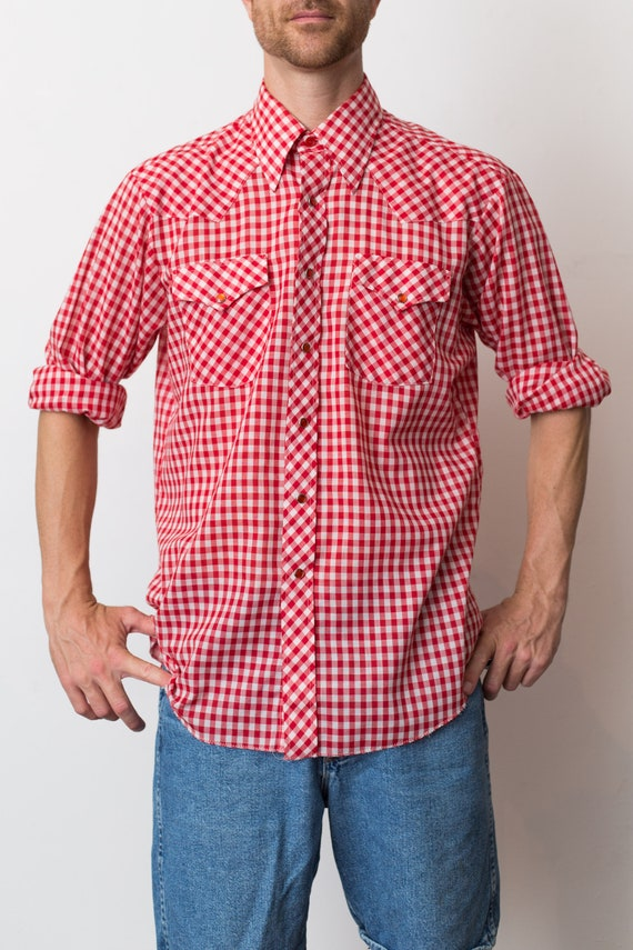 Vintage Men's Western Shirt Large Ranch Western Wear Red and White Plaid Shirt Checkered Outdoor Rodeo Cowboy Shirt Button up Top