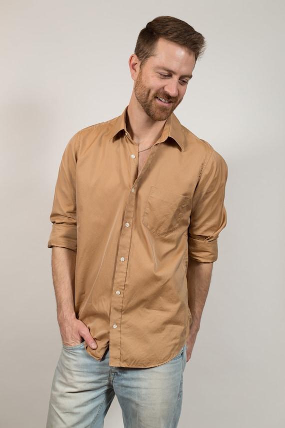 Vintage Men's Dress Shirt - Medium Tan Brown Button up Shirt - Skin Coloured Boho Desert Modern Fall Autumn Shirt