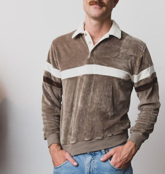Vintage Velour Sweater - Men's Medium 80's White Striped Pullover - Long Sleeved Iridescent Jumper