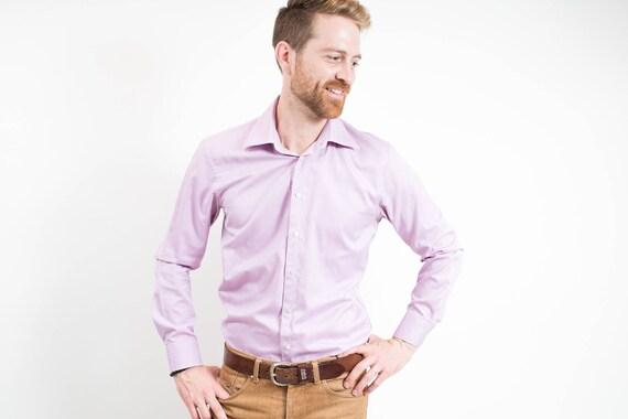 Vintage Soft Lipson Elite Purple Shirt / Mens Designer Long Sleeved Button up Causal Summer Dress Shirt / Made in Canada
