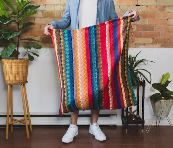 Vintage Laundry Bag - Chevron Bright Coloured Geometric Shape Drawstring Bag