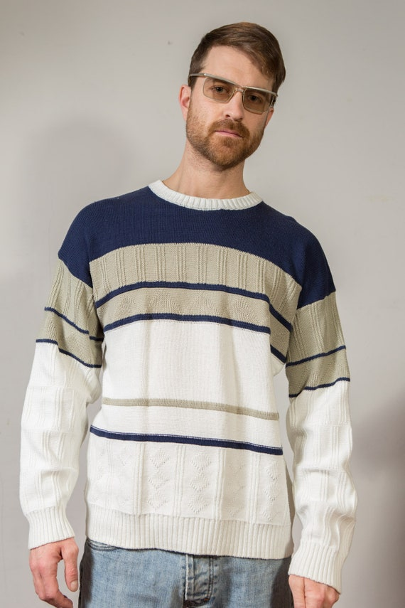 Vintage Preppy Sweater - Nautical Dad Jumper Large Size Blue and White Stripe Knit Jumper - Retro Long Sleeve Sporty Preppy Full Pullover