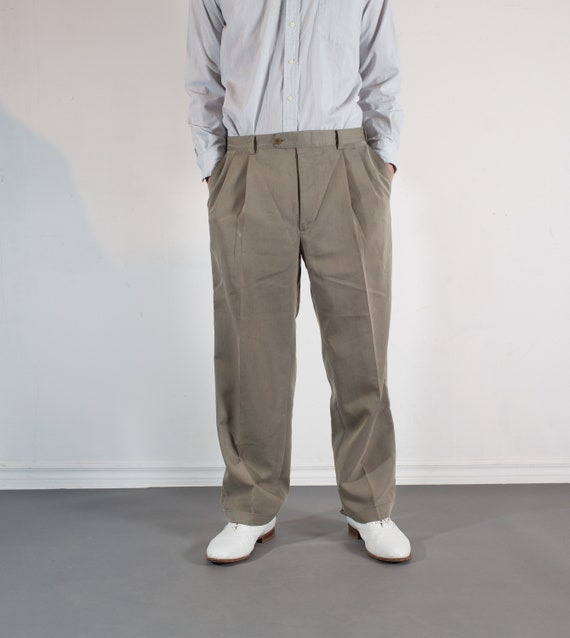 Vintage Mens Beige Trousers - W34 Pleated Dress Pants / Khaki Slacks