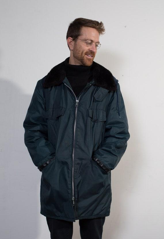 Mens Blue Jacket - Vintage Trucker Style Nylon Jacket with Black Faux Fur Collar - Medium Snowmobiling / Skiing / Snowboarding Winter Coat