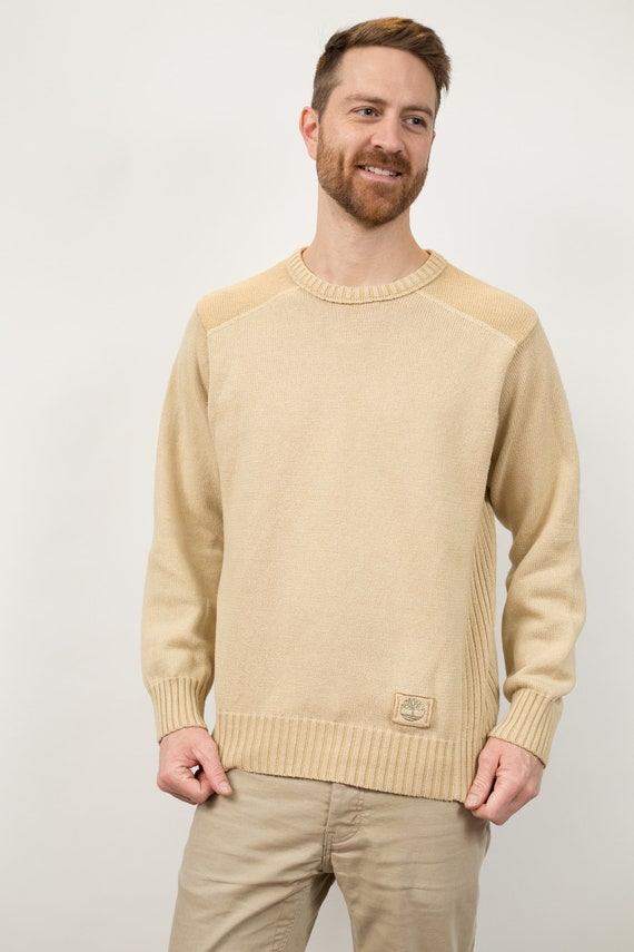 Timberland Knit Sweater - Men's Medium Size Beige Coloured Sweater - Long Sleeve Pullover / Jumper
