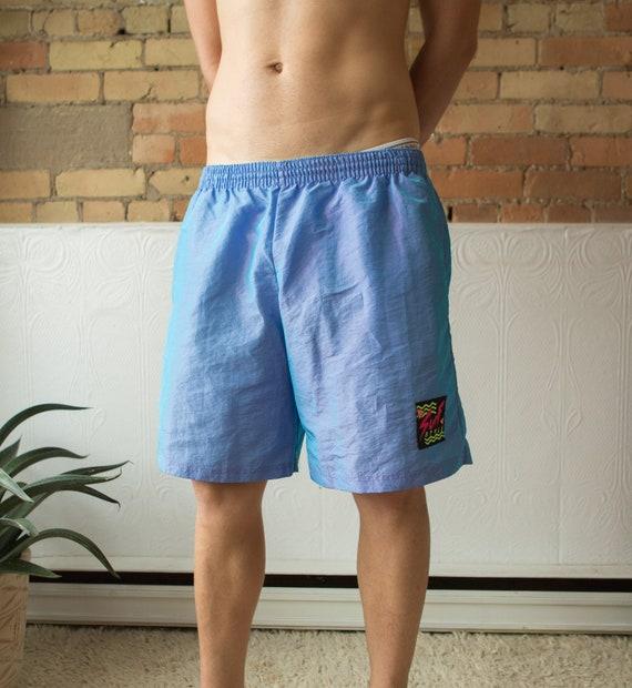 Vintage Swim Shorts - XL Size Retro  Men's Iridescent Purple Surf / Beach Shorts with Elastic Waist - Men's Fresh Prince Trunks