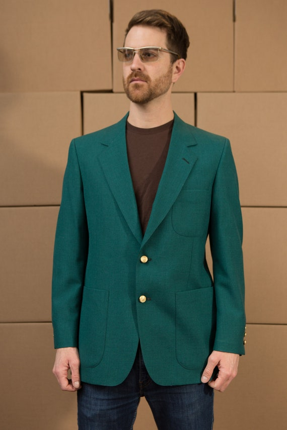 Vintage Mens Blazer - Medium Emerald Green Sports Coat - Wedding Suit Blazer