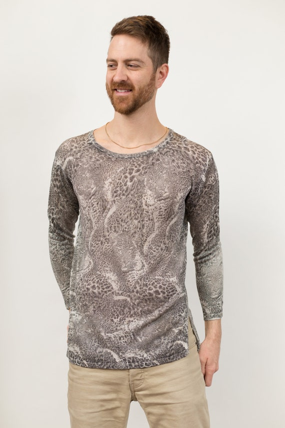 Animal Print Shirt - Unisex Women's Long Sleeved Grey Snake Skin Pattern Crew Neck Causal Shirt