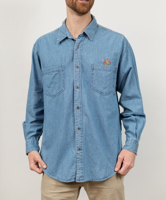 Vintage Denim Shirt - Large Size Blue Faded Unisex Long Sleeved Blue Jean Shirt - Casual Summer Button up Mens Workers Shirt