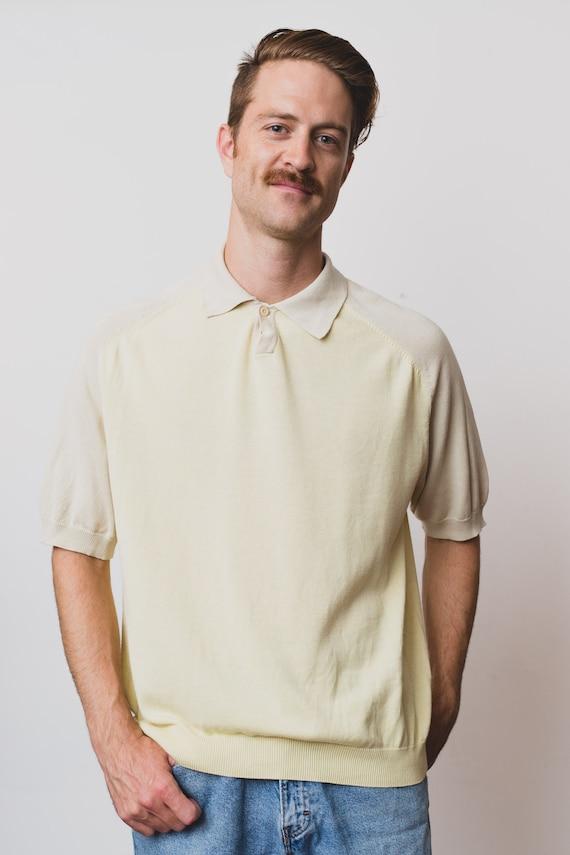 Vintage Men's Polo Shirt - Large Size Pale Pastel Yellow Golf Shirt - Nat Nast Luxury Originals Sportswear Cotton Tee