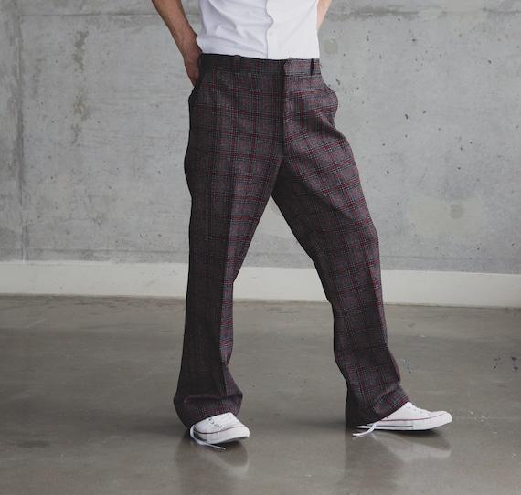 Vintage Mens Plaid Trousers - 38W Checkered Plaid