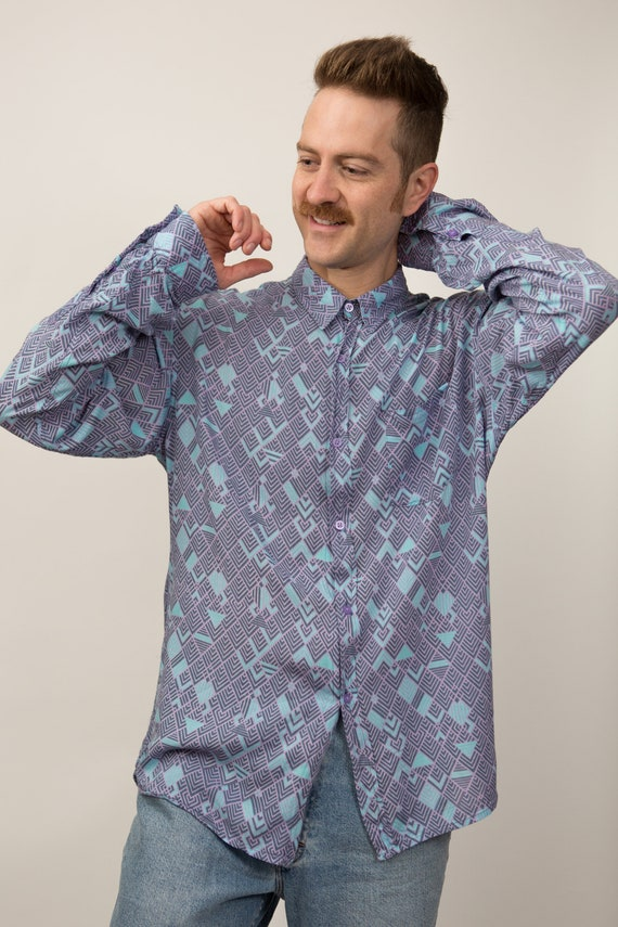 Vintage Abstract Shirt - Large Size Men's Lilac Purple and Blue Geometric Triangle Button up Oxford - Long Sleeved Shirt - Boarding Shirt