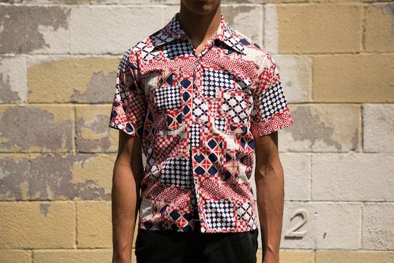 Vintage Abstract Shirt - Medium Size Men's Blue red and white Abstract Hawaiian Tikki Button up Short Sleeved Aloha Shirt