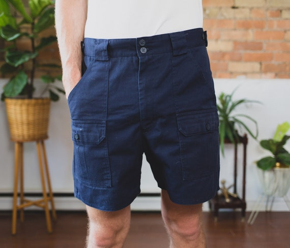 "Vintage Tilley Shorts - Size 34"" Navy Blue Hiking Shorts - dark Blue Tilley Endurables Safari Jungle Explorer Trunks - Indiana Jones Vibes"