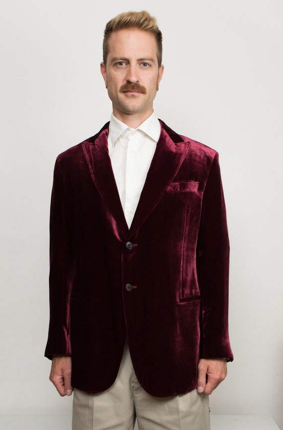 Men's Armani Blazer - 42R Large Size Velvet Red / Burgundy Sports Coat - Wedding Suit Blazer - Groomsman Jacket