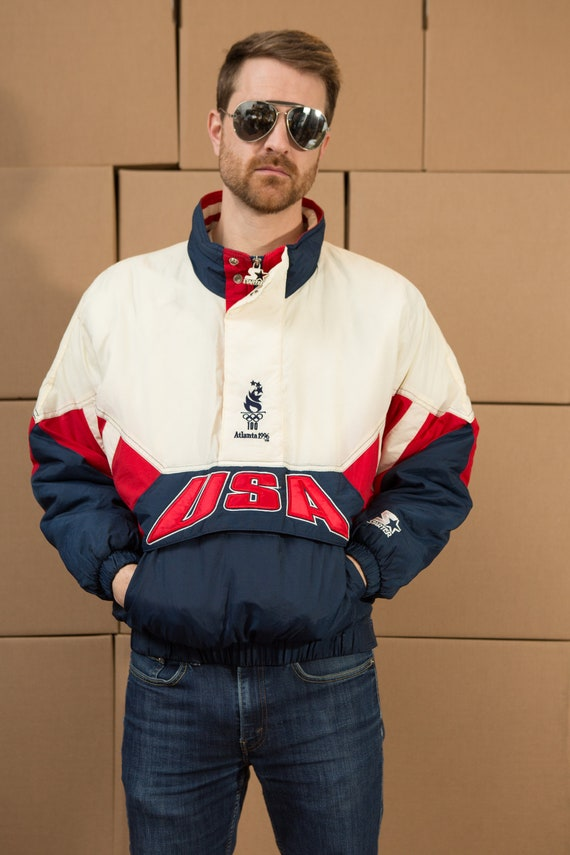Vintage Atlanta 1996 Olympic Games USA Bomber Jacket with U.S. Flag Colours red, white, blue - Small Mens 90's Retro Nylon Bomber Coat