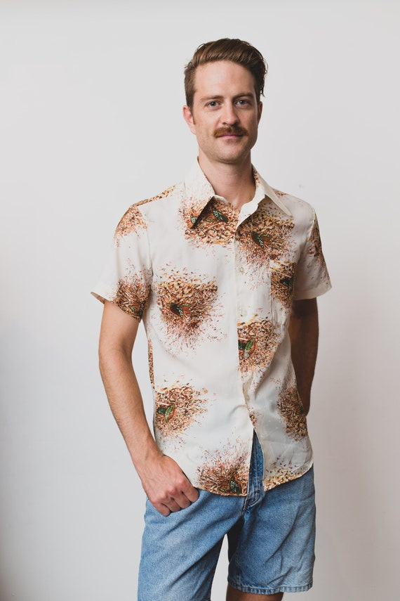 Vintage Country Shirt - Men's Fifth Avenue Medium Size Button up Casual Short Sleeved Boho Summer Beach Autumn - Abstract Pattern Shirt
