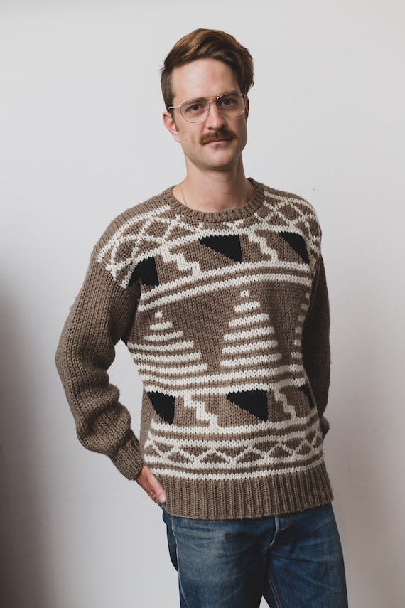 Vintage Knit Sweater - Men's Large Size 1980's Brown Acrylic Geometric Sweater - Retro Beige Long Sleeve Pullover Jumper
