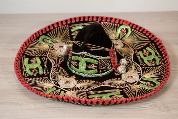 Vintage Sombrero - Large Black Velour Mexican Hat - Costeno hat - Puerto Vallarta - Mexican Food Restaurant Decor - Southest Cowboy Hat