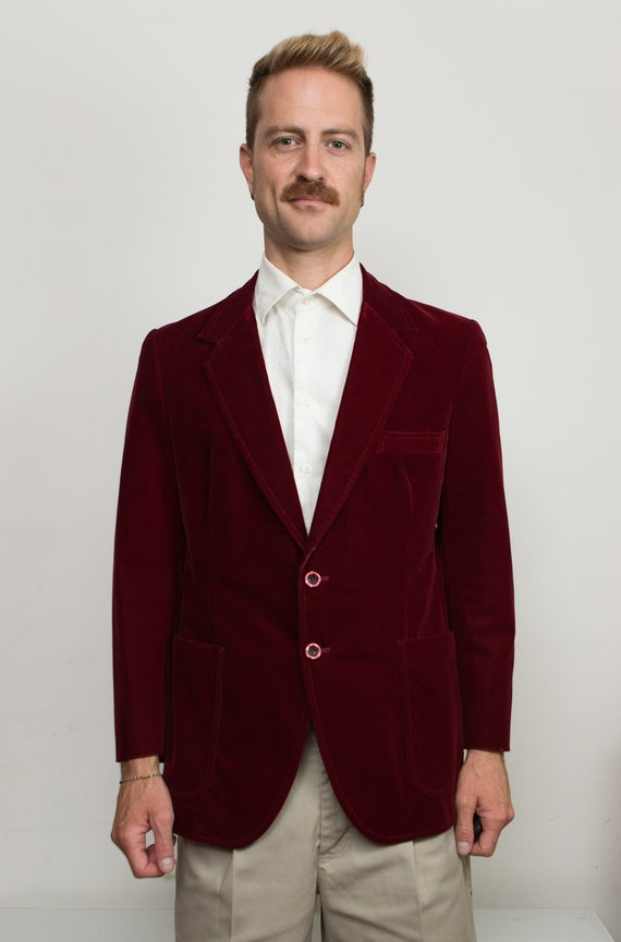 Men's Red Velvet Blazer - Medium Size Velvet Red / Burgundy Sports Coat - Wedding Suit Blazer - Groomsman Jacket