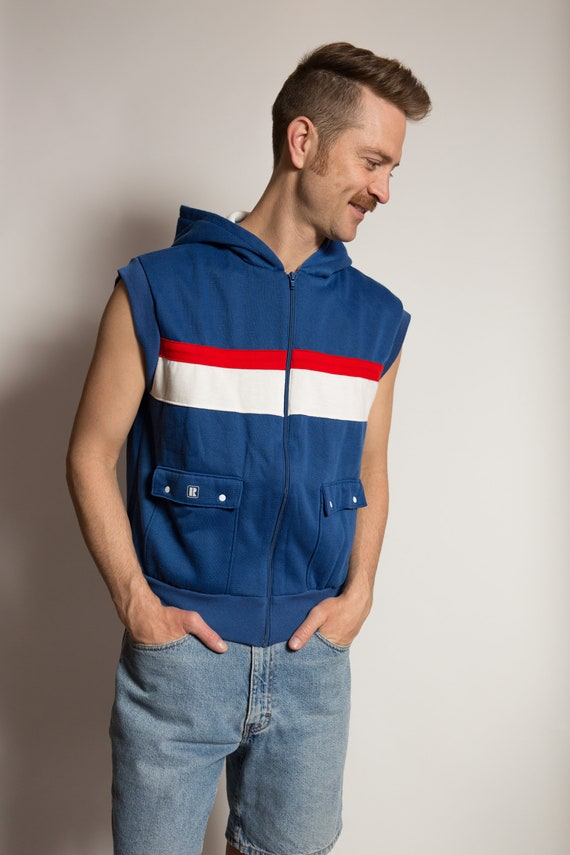 Vintage Men's Hooded Sweater Vest - 80's Style Medium Size Blue, White and Red Colour Blocked Best - Retro Summer Fall Streetwear Vest