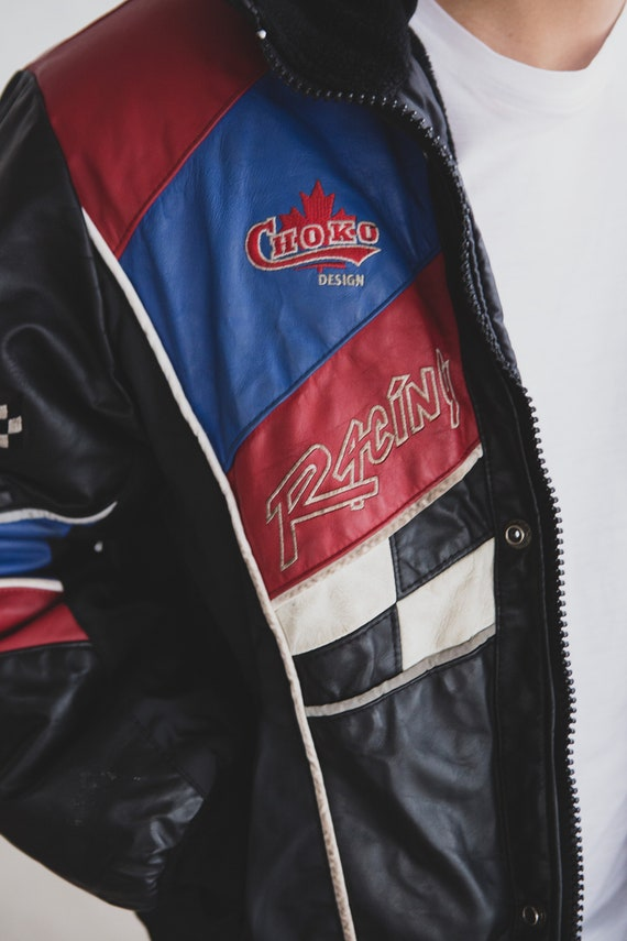 Choko Racing Jacket - Medium Vintage Black Leathe… - image 5