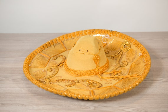 Vintage Sombrero - Large Yellow Velour Mexican Hat - Puerto Vallarta - Mexican Food Restaurant Decor - Southwest Cowboy Hat