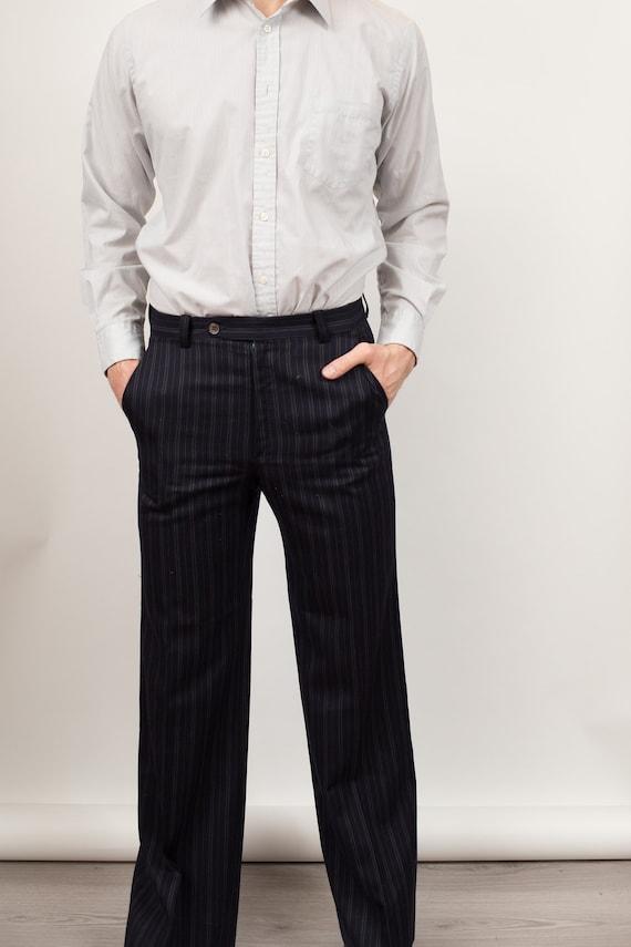 Vintage Men's Suit - 2-piece Pinstripe Blue Wool Suit - Wedding Groom or Groomsman Attire - Small Size Suit