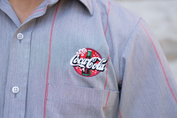 Men's Striped Shirt - Coca Cola Button Down Large Size Short Sleeved Coke Shirt