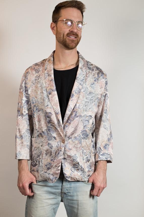 Vintage Floral Blazer - Retro Soft Grey Pastel Sports Jacket - Men's or Women's Unisex Ornate Flowers Pattern Sports Coat