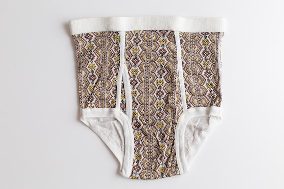 Vintage Men's Underwear - S/M/L Size Retro 70's High Waisted Male Briefs with Brown Ornate Pattern and Elastic Waist