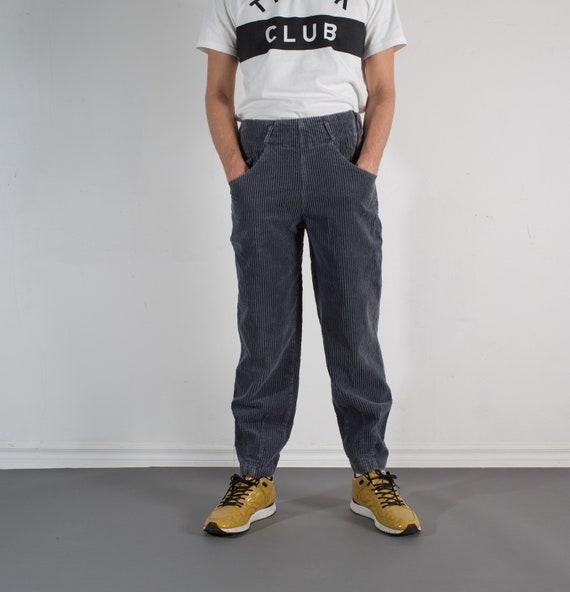 Vintage Grey Corduroy Pants - Mens W32 Gray Jeans by Union Bay - Side Zipper Trousers / Siacks