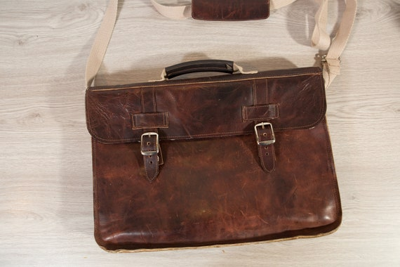 Diaz Shoulder Bag - Dark Brown Leather Retro Briefcase Style Bag for Office, Travelling - Laptop Bag