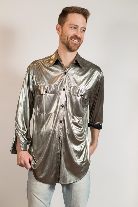 Metllic Shirt - Unisex Women's Shiny Silver Blouse - Button up Party Nightlife Streetwear Reflective Fashion Shirt