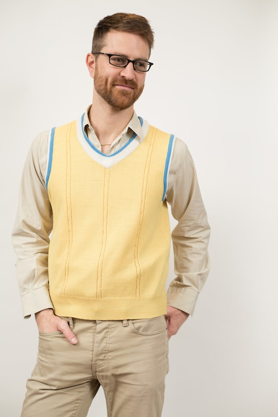 Vintage Teachers Vest - Men's Small Size Yellow Knot Steve Urkel Pullover Sweater Vest - Retro Nerdy Vest